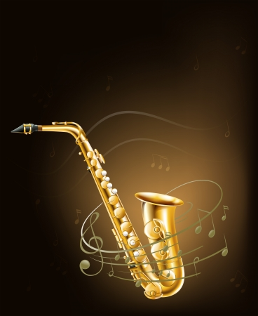 Illustration of a saxophone with musical notes