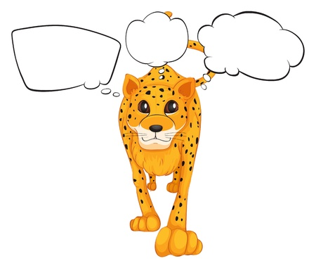 Illustration of a cheetah with empty callouts on a white background  Vector