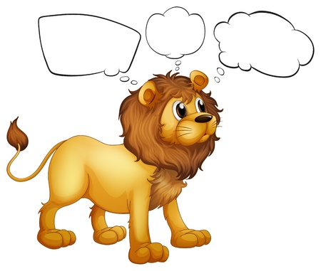 cub: Illustration of the empty thoughts of a scary lion on a white background Illustration