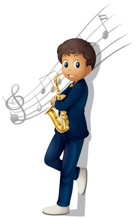 brass instrument: Illustration of a musician holding a saxophone with musical notes on a white background Illustration