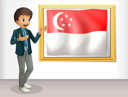 singaporean flag: Illustration of a boy pointing at the Singaporean flag  Editorial