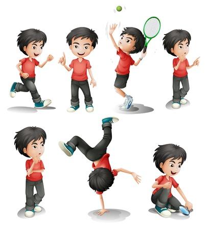 niño: Ilustración de las distintas actividades de un muchacho joven en un fondo blanco