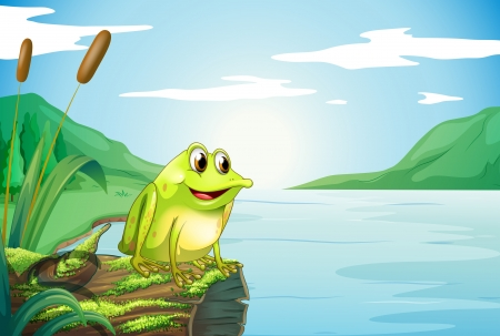 Illustration of a trunk at the river with a frog Vector