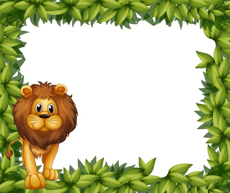 Illustration of a lion in front of an empty leafy frame Vector