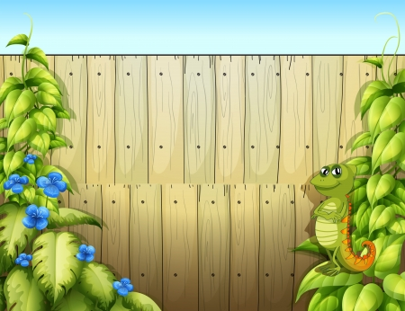 Illustration of an iguana inside the fence Vector