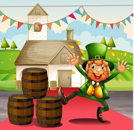 Illustration of an old man in a green attire beside the barrels Stock Vector - 18324401