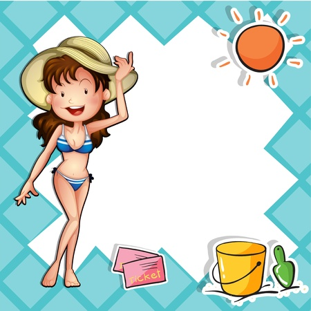 girls at the beach series: Illustration of a girl wearing a bikini with a hat Illustration