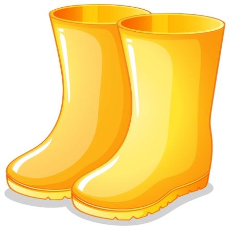 rubberboots: Illustration der gelben Gummistiefeln auf einem wei�en Hintergrund