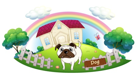 Illustration of a white bulldog inside the fence with a house at the back on a white background Stock Vector - 18324359