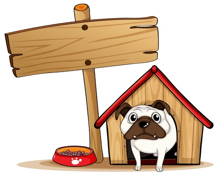 kennel: Illustration of a signboard beside a doghouse with a dog
