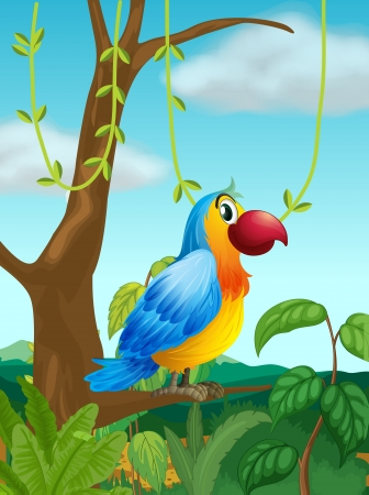 Illustration of a colorful parrot at the branch of a tree Stock Vector - 18324279