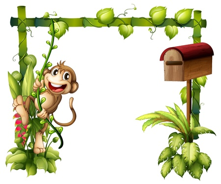 Illustration of a monkey swinging beside a wooden mailbox on a white background Vector