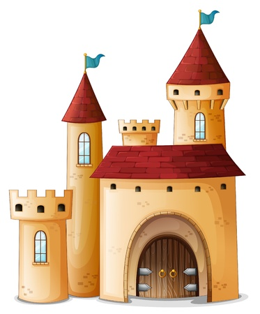 castle cartoon: Illustration of a beautiful palace on a white background