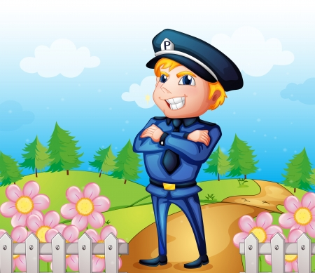 tree service pictures: Illustration of a policeman standing in the garden
