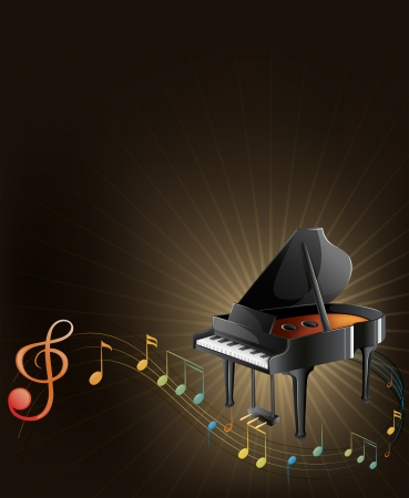Illustration of a gray piano with musical notes  Vector