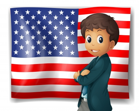 Illustration of an American flag with a boy on a white background Stock Vector - 18324363
