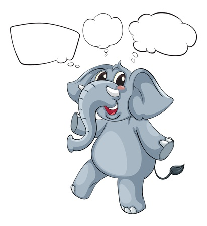 Illustration of the empty thoughts of a gray elephant on a white background Stock Vector - 18324228