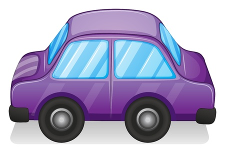 Illustration of a violet toy car on a white background Vector