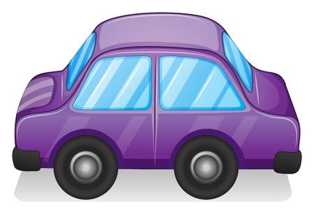 illustraiton: Ilustraci�n de un coche de juguete violeta en un fondo blanco