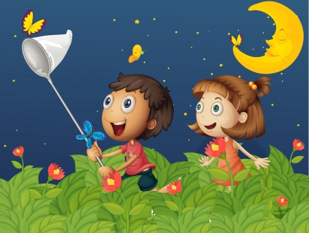 Illustration of the kids catching butterflies under the bright moon