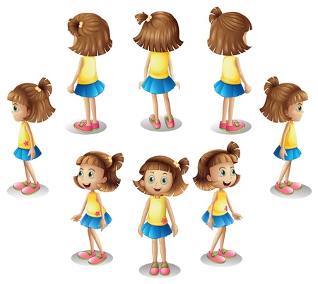 sideview: Illustration of a girl forming a circle on a white background