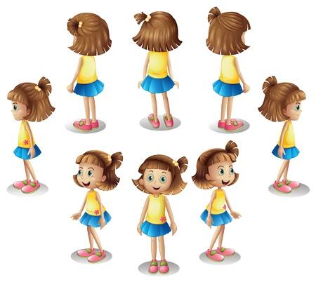 personas de espalda: Ilustración de una niña formando un círculo sobre un fondo blanco