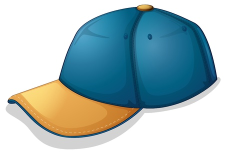 baseball cartoon: Illustration of a blue cap on a white background