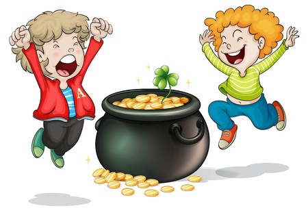 Illustration of the happy faces of two kids with a pot of money on a white background Vector