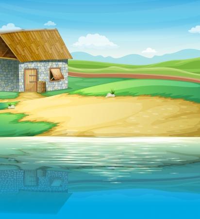 강둑: 강 근처 집의 그림 일러스트