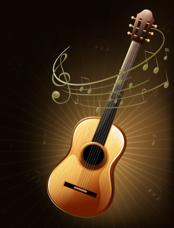 Illustration of a brown guitar with musical notes Stock Vector - 18324384
