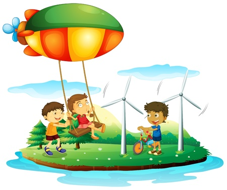 Illustration of the three children playing at the park on a white background Stock Vector - 18324325
