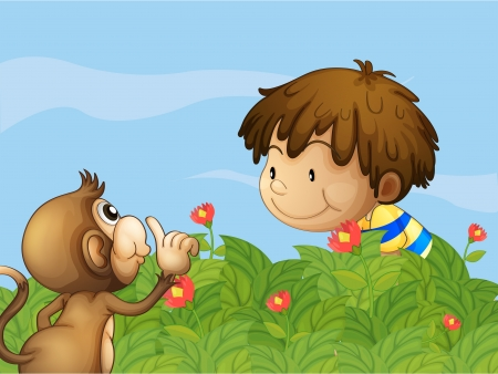 Illustration of a monkey and a boy talking at the garden Stock Vector - 18324323