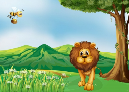 Illustration of a lion and a flying bee at the hills