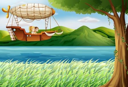 luftschiff: Illustration eines Luftschiffs in der Nähe des Flusses mit zwei Mädchen