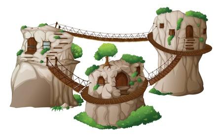 Ilustración de las casas en los árboles con puentes colgantes sobre un fondo blanco
