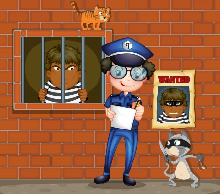 Illustration of a policeman holding a pen and a paper with two cats in the jail Illustration