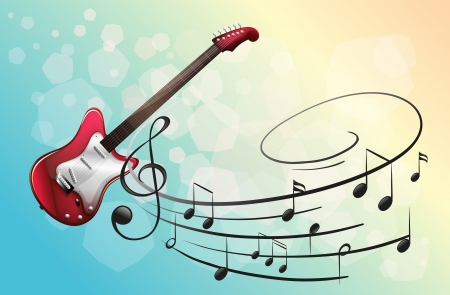 Illustration of a red electric guitar with musical notes Vector