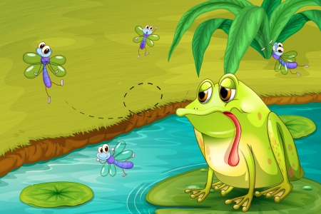 illustraiton: Illustration of the sad frog in the pond