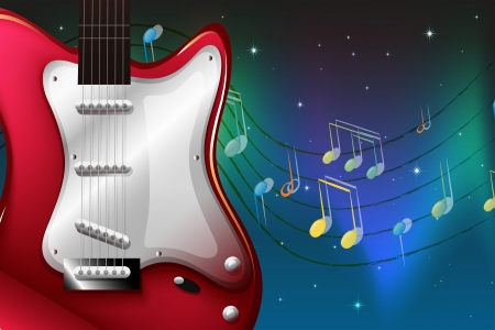 electric guitars: Illustration of a red electric guitar Illustration