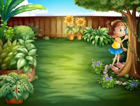 Illustration of a little girl studying the plants in the garden Vector