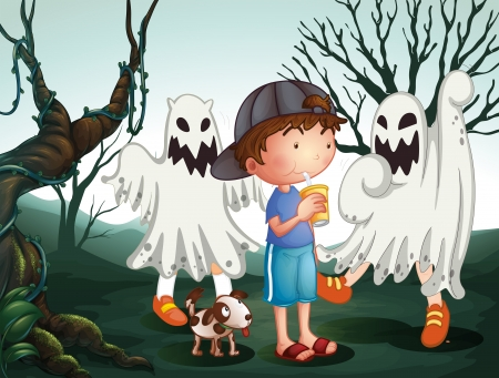 Illustration of a boy and his pet at the graveyard with ghosts Vector