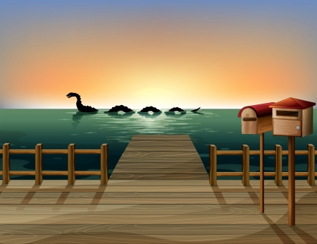 Illustration of a sunset at the port with two wooden mailboxes Vector