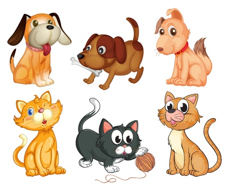 Illustration of the lovable pets on a white background Vector