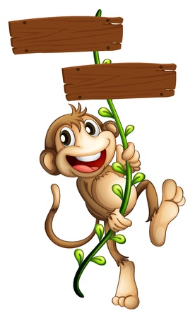 Illustration of a monkey holding the two wooden signboards on a white background  Vector