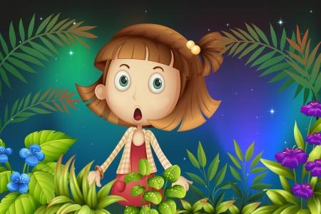 suprise: Illustration of a shocked face of a little girl