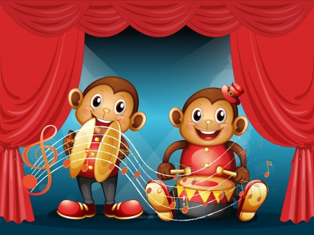 cymbals: Illustration of the two monkeys performing at the stage