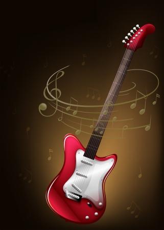 Illustrazione di una chitarra rossa con note musicali