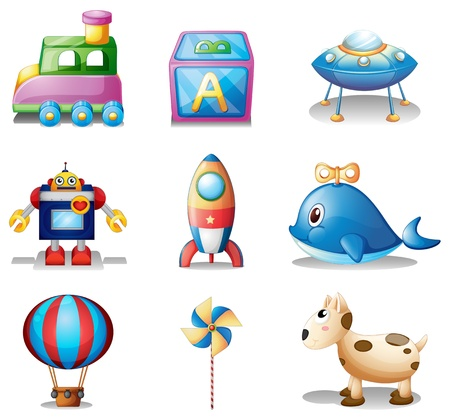 Illustration of the toys for children on a white background Vector