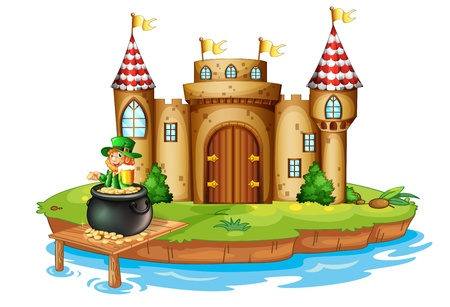 Illustration of a castle with an old man inside a pot of coins on a white background Vector