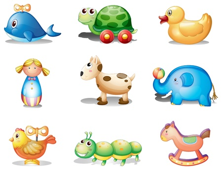 Illustration of the different toys for kids on a white background Vector